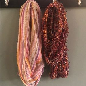 Two bundle of infinity scarves. Both pink multi